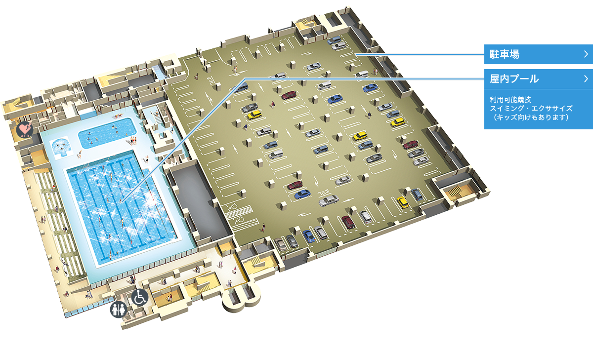 墨田区総合体育館のマップ1階
